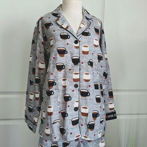 P.J. Salvage Flannel Coffee Life Pajama Set M 🆕